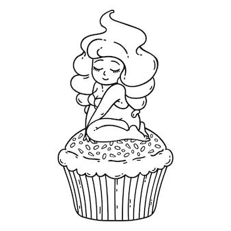 Fée à la crème de petit gâteau. jolie fille sur petit gâteau.