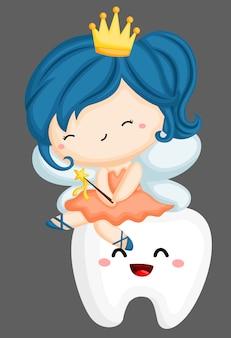 Fée des dents assise sur une dent