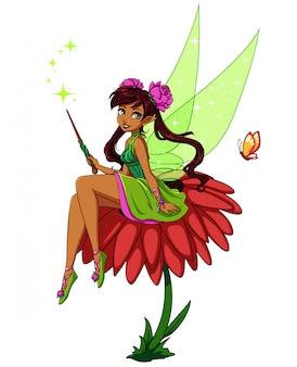 Fée de dessin animé mignon assis sur une fleur. fille avec des queues de cheval brunes portant une robe verte. illustration vectorielle dessinés à la main.