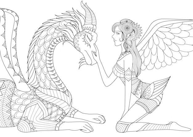 Fée dessinée à la main et dragon