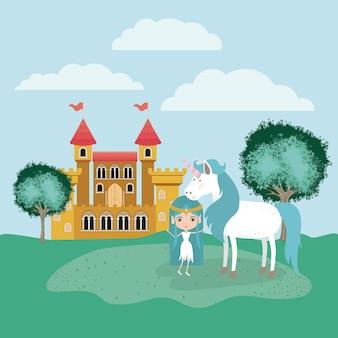 Fée avec licorne dans le camp et le château
