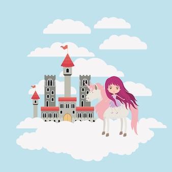 Fée avec licorne dans les nuages et le château