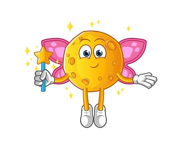 Fée de la lune avec des ailes et personnage de dessin animé de bâton