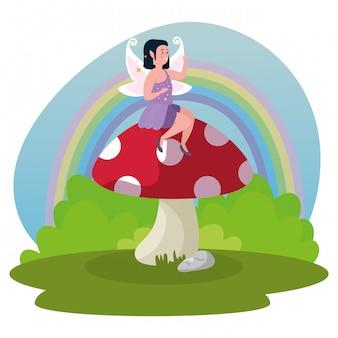 Fée magique assis champignon dans la magie de la scène
