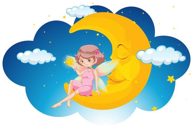 Fée mignonne assis sur la lune pendant la nuit