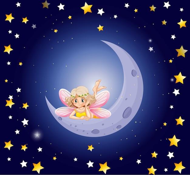 Fée mignonne et la lune dans le ciel