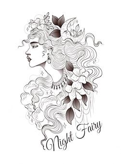 Fée de nuit avec une coiffure de fleurs