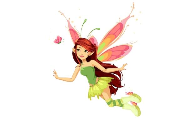 Fée papillon volant