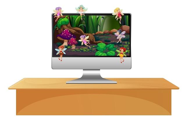 Fée pixie sur écran d'ordinateur