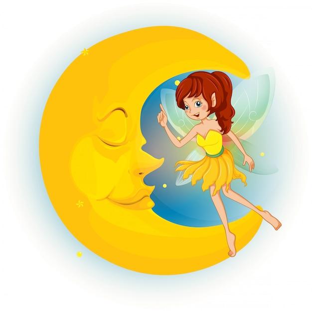 Une fée avec une robe jaune à côté d'une lune endormie