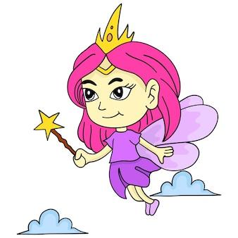 La fée vole. autocollant mignon illustration de dessin animé
