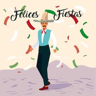 Felices étiquette de fiestas avec homme avec costume typique mexicain