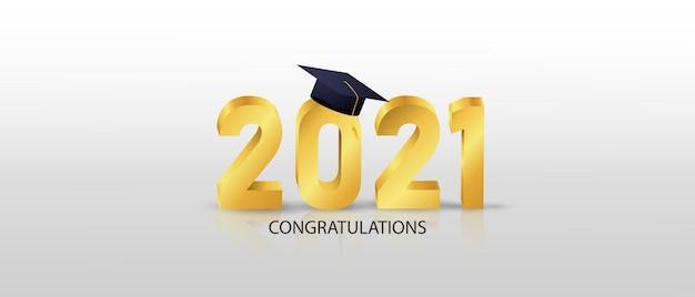Félicitations aux diplômés de 2021, illustration vectorielle de bannière et conception pour carte d'affiche,