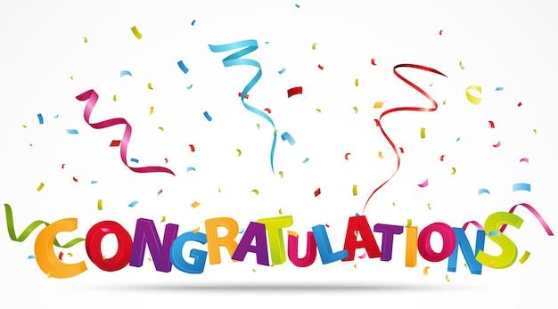 Félicitations avec des confettis