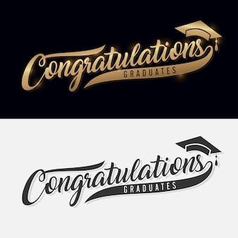 Félicitations diplômé. lettrage de calligraphie. phrase manuscrite avec texte d'or