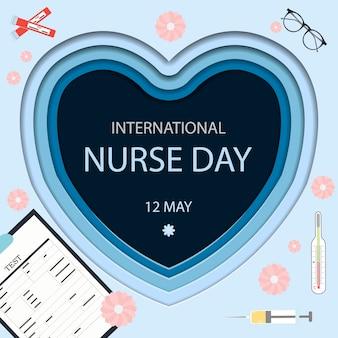 Félicitations Pour La Journée Internationale Des Infirmières Le 12 Mai Une Carte Avec Coeur Vecteur Premium