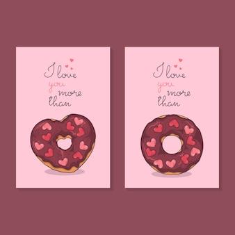 Félicitations pour la saint valentin. cartes avec des beignets.