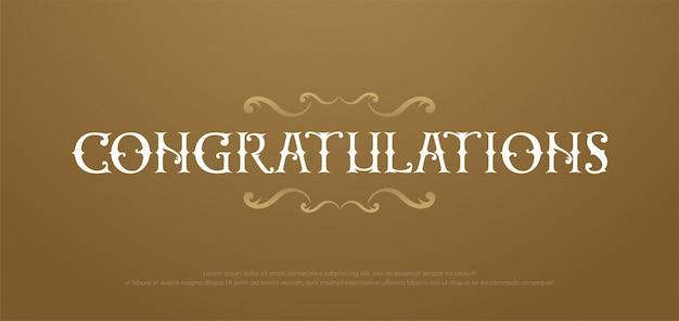 Félicitations premium classique. lettrage de félicitations