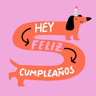Feliz cumpleaños lettrage chien illustration