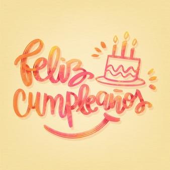 Feliz cumpleaños lettrage avec gâteau et bougies