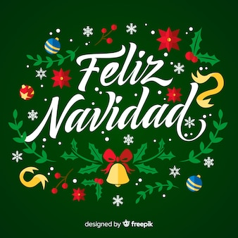 Feliz navidad lettrage avec des ornements