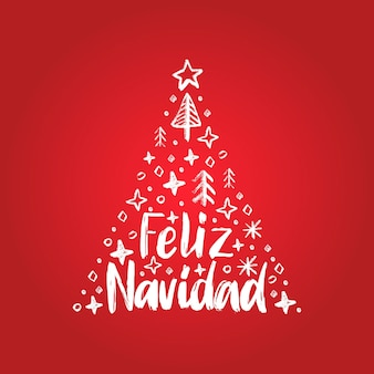 Feliz navidad, phrase manuscrite, traduite de l'espagnol joyeux noël. illustration de l'épinette décorative de vecteur sur fond rouge.