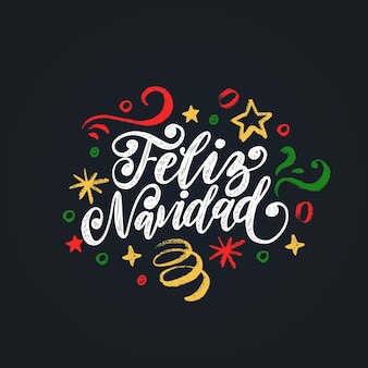 Feliz navidad, phrase manuscrite, traduite de l'espagnol marry christmas. vector illustration de guirlandes de nouvel an sur fond noir.