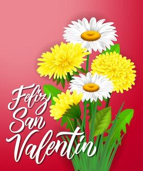 Feliz san valentin lettrage avec des fleurs
