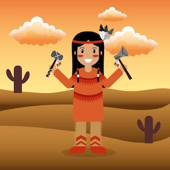 Femelle natif américain tenant tomahawks