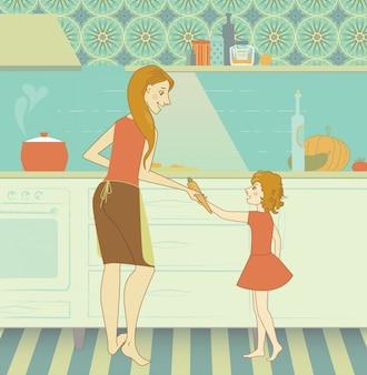 Femenino, joven, cocina, familia, cocina, madre, hija, comida, diversión, amor, muchacha, persona, mujer, niño, sonrisa, felicidad, alegre, cocinero, delantal, maternidad, feliz, hogar, adulto, comida, vestido, cena, vegetal, niñez, aprendizaje, juntos, clip-art, pote, chef, hogar