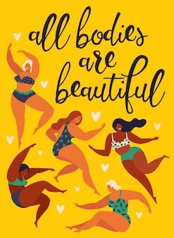 Féminisme corps cartes positives pouvoir des filles.