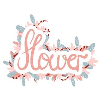 Le féminisme féminin cite l'heure des fleurs. calligraphie de lettres dessinées à la main de couleur rose