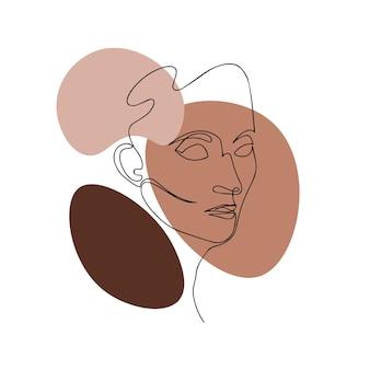 Une femme abstraite moderne fait face à une conception de ligne continue pour les cartes d'affiches, les sacs à bandes et les t-shirts
