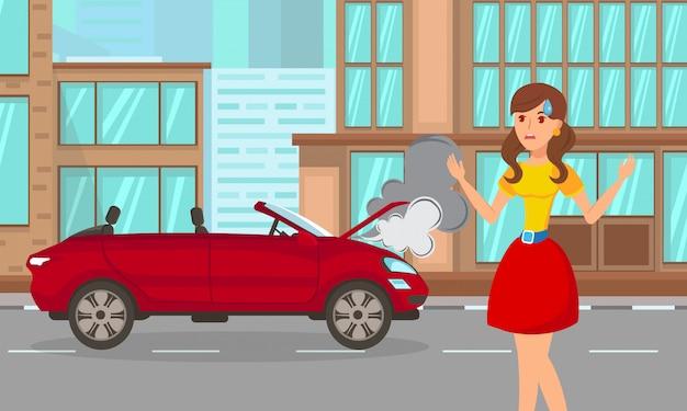 Femme, accident voiture, dessin animé, plat, illustration