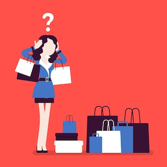 Femme accro du shopping achetant trop