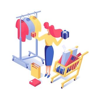 Femme, achat, vêtements