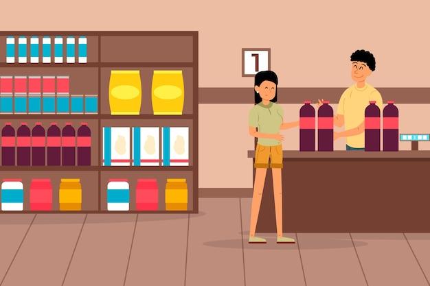 Femme, achats, épicerie