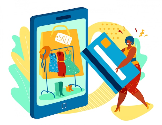 Femme, achats en ligne dans un magasin de vêtements de mode, illustration vectorielle de paiement par carte de crédit