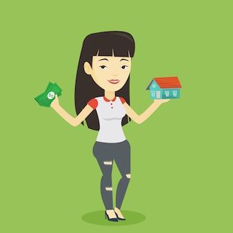 Femme achetant une maison grâce à un prêt.