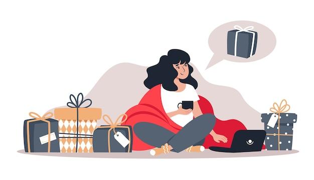 Femme achète des cadeaux dans la boutique en ligne