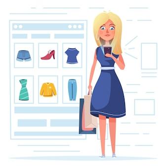 Femme achète des vêtements par smartphone