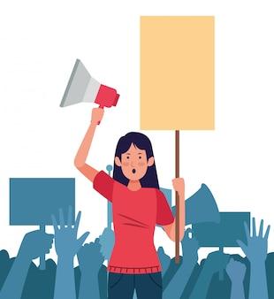 Femme activiste avec les mains de l'homme jusqu'à la scène de protestation