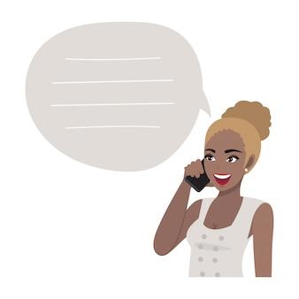 Femme d'affaires afro-américaine parlant au téléphone mobile. illustration dans un style