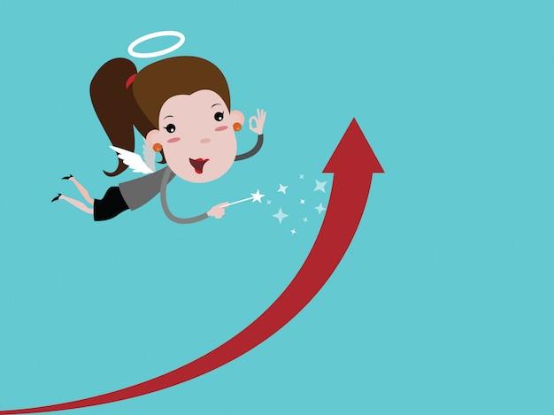 Femme d'affaires d'ange avec des ailes tenant une baguette. faites le graphique grandir. vecteur de dessin animé
