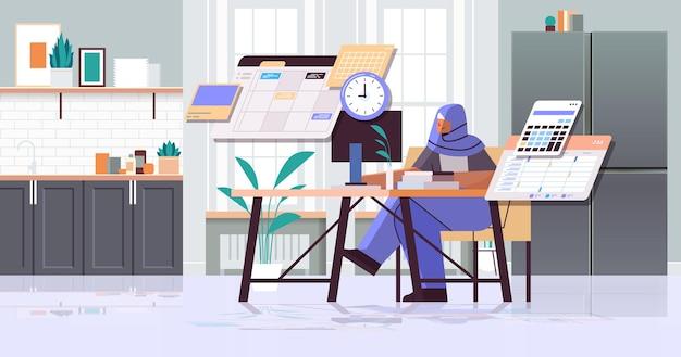 Femme d'affaires arabe au jour de planification du lieu de travail planification du concept de gestion du temps de rendez-vous