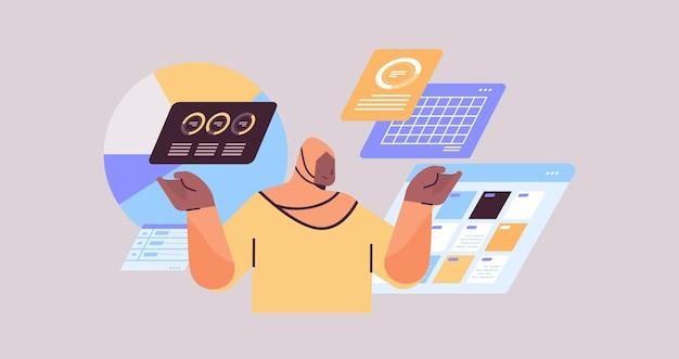 Femme d'affaires arabe surveillance des données statistiques financières analyse concept illustration vectorielle portrait horizontal