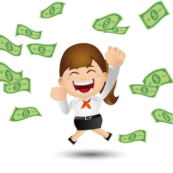 Femme d'affaires avec de l'argent comptant