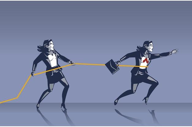Femme d'affaires, arrêtez un collègue d'avancer avec un collier bleu en corde