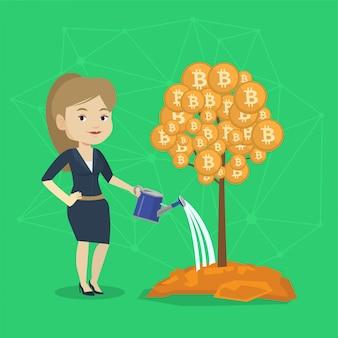 Femme d'affaires arrosant l'arbre avec des pièces de bitcoin.