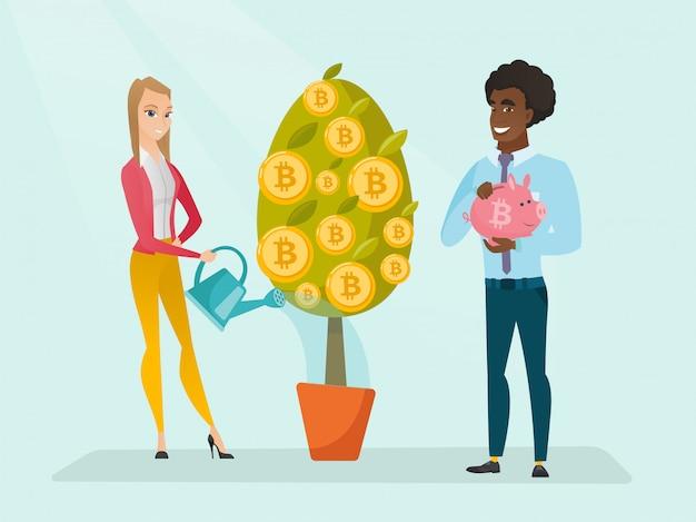 Femme d'affaires arrosant des arbres avec des pièces de bitcoin.
